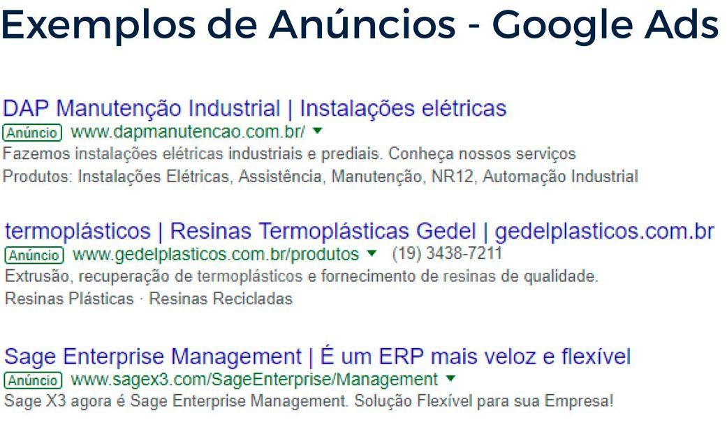 Exemplos de Anúncios - Google Ads